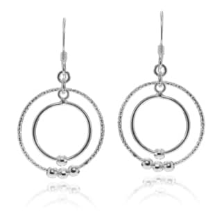 Journee Collection Sterling Silver Double Circle Bead Dangle Earrings