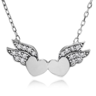 Journee Collection Sterling Silver Cubic Zirconia Accent Heart Wing Pendant
