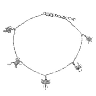 Journee Collection Sterling Silver Cubic Zirconia Animal Charm Anklet