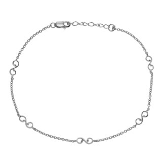 Journee Collection Sterling Silver 'S' Scroll Anklet