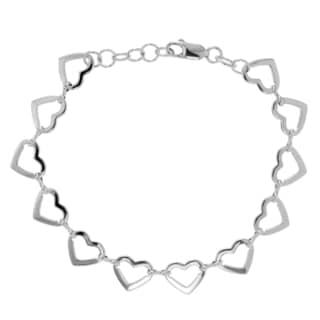 Journee Collection Sterling Silver Open Heart Link Bracelet