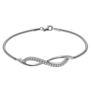 Journee Collection Sterling Silver Cubic Zirconia Accent Infinity Bangle