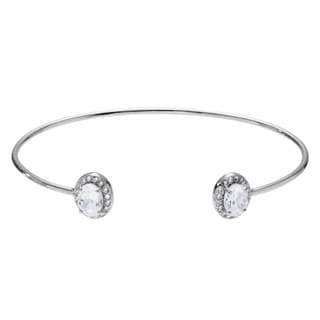Journee Collection Sterling Silver Cubic Zirconia Cuff Bracelet