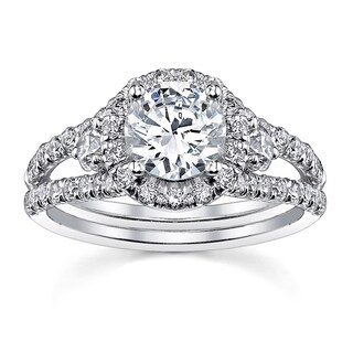 18k White Gold Round Halo Engagement Ring 1 2/5ct TDW