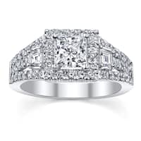 18k White gold Halo Princess Cut Engagement ring 1 1/6ct TDW
