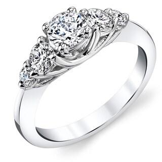 14k White Gold 1/2ct TDW Round Diamond Engagement Ring