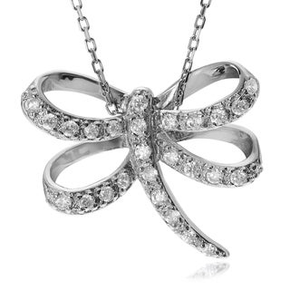Journee Collection Sterling Silver Cubic Zirconia Dragonfly Pendant