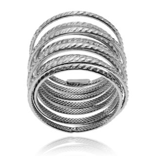 Journee Collection Sterling Silver Twisted Spring Layer Ring