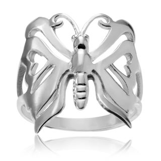 Journee Collection Sterling Silver Butterfly Heart Ring
