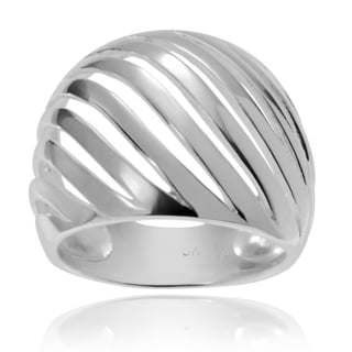 Journee Collection Sterling Silver Split Dome Ring