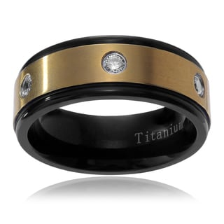 Territory Men's Ion-plated Titanium Cubic Zirconia Inlay Wedding Band (8mm)