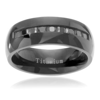 Men's Titanium Channel-set Cubic Zirconia Inlay Wedding Ring