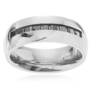 Territory Men's Titanium Square Cubic Zirconia Inlay Wedding Band (8mm)