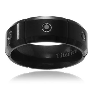 Territory Mens Ion-Plated Titanium Cubic Zirconia Multi-groove Wedding Band