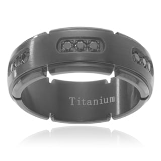 Men's Black Ion-plated Titanium Cubic Zirconia Wedding Band