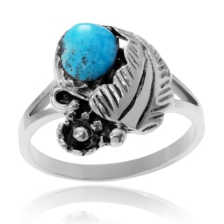 Journee Collection Sterling Silver Turquoise Feather Ring