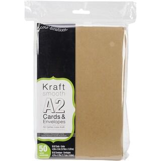 Heavyweight A2 Cards/Envelopes (4.375inX5.75in) 50/PkgKraft