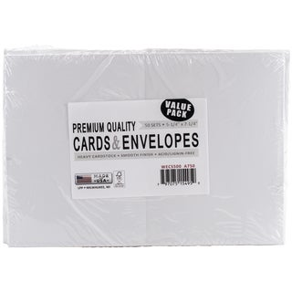 Leader A7 Greeting Cards & Envelopes (5.25inX7.25in) 50/PkgWhite