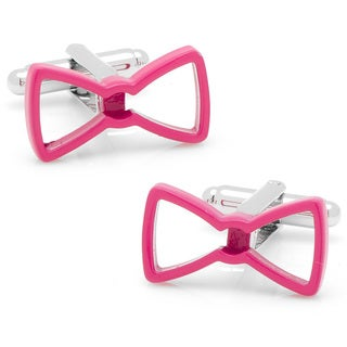 Silvertone Cool Cut Pink Bow Tie Cufflinks