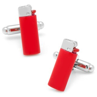 Silvertone Red Lighter Cufflinks