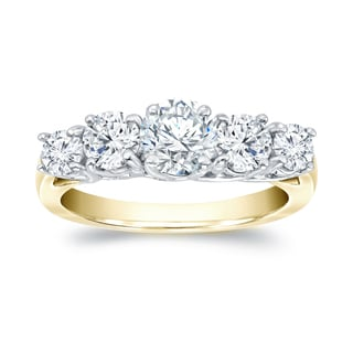 Auriya 14k Two-tone Gold 1/2ct TDW Round Cut Diamond 5 Stone Ring