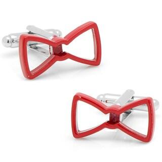 Silvertone Cool Cut Red Bow Tie Cufflinks