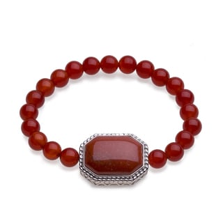 Sterling Silver Red Agate Beaded Stretch Bracelet