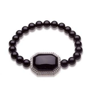 Sterling Silver Black Onyx Bead Stretch Bracelet