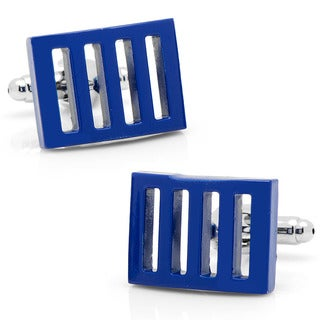 Silvertone Blue Vented Cufflinks
