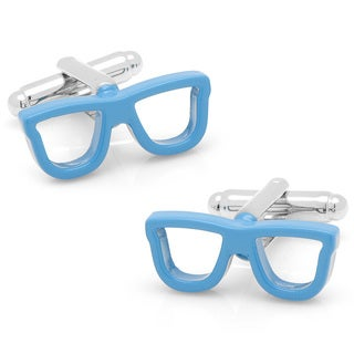 Silvertone Cool Cut Blue Shades Cufflinks