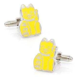 Silvertone Stability 'Maneki Neko' Lucky Cat Cufflinks