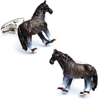 Silvertone Enamel Horse Cufflinks