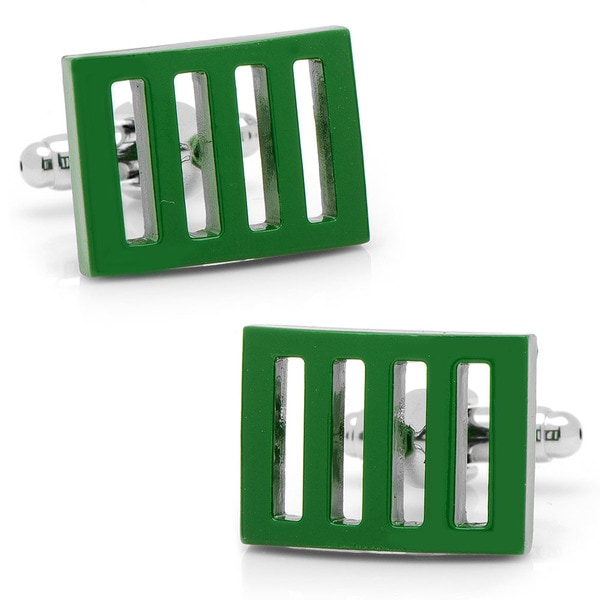Silvertone Green Vented Cuff Links