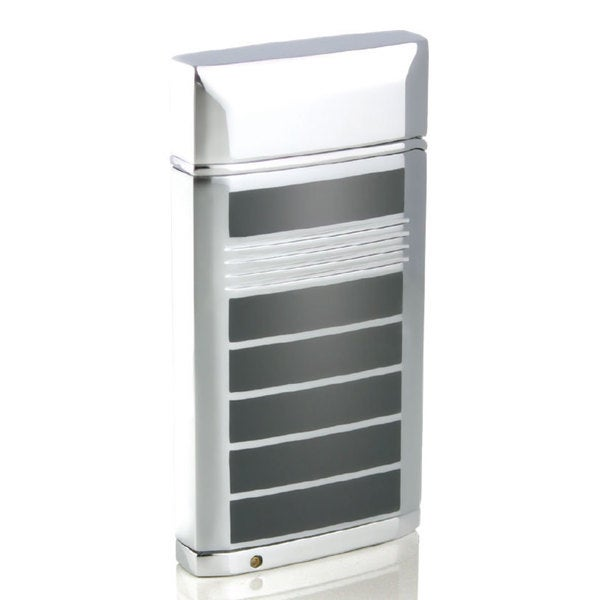 Caseti Flamei Single Jet Flame Cigar Lighter - Polished Chrome & Gray Lacquer (Ships Degassed)