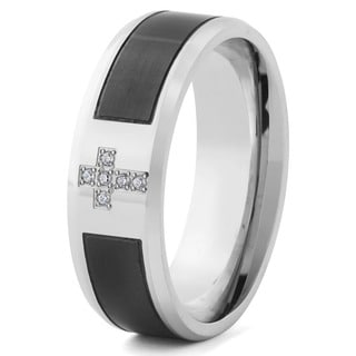 Men S Two Tone Stainless Steel With Cubic Zirconia Cross Band Ring 8 Mm