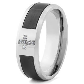 Men's Two-Tone Stainless Steel with Cubic Zirconia Cross Band Ring (8 mm)