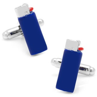 Silvertone Blue Lighter Cufflinks