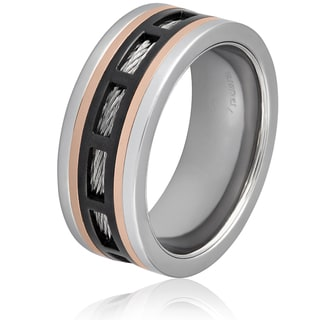 Men's Black and Rose Gold Stainless Steel Cable Inlay Band Ring
