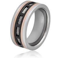 Men's Black and Rose Gold Stainless Steel Cable Inlay Band Ring - White