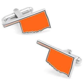 Silvertone Orange Oklahoma Cufflinks
