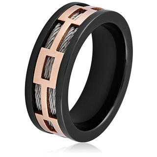 Men's Black and Rose Gold Plated Stainless Steel Cable Inlay Ring