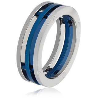 Men's Stainless Steel Blue Plated Three Band Ring (7.3 mm) - White