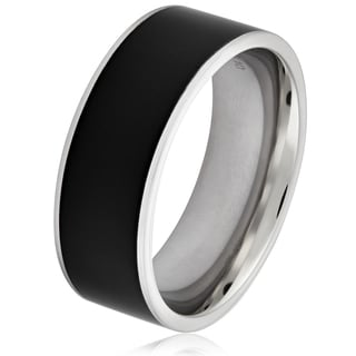 Link to Crucible Two-tone Stainless Steel Polished Band Ring - Black Similar Items in Men's Jewelry