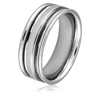 Men's Stainless Steel Blackplated Grooved Ring