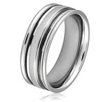 Men's Stainless Steel Black Plated Grooved Ring - White