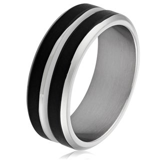 Men's Stainless Steel Two-Tone Grooved Band Ring