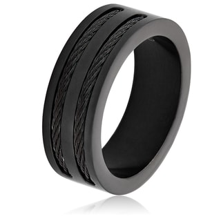 Men's Blackplated Stainless Steel Double Wire Cable Inlay Band Ring