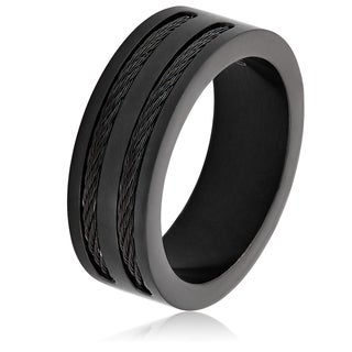 Men's Black Plated Stainless Steel Double Wire Cable Inlay Band Ring