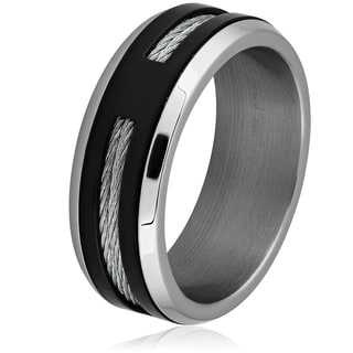 Men's Two-Tone Stainless Steel Cable Inlay Band Ring