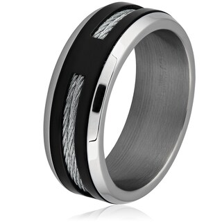 Men's Two-Tone Stainless Steel Cable Inlay Band Ring - Black